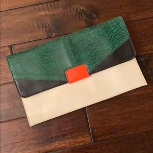 Banana Republic Green Black Orange & Ivory clutch